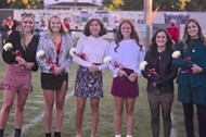 Homecoming Queen Tayzia Havill surrounded by her homecoming court