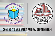 Ohio Governor's and Dolly Parton's Imagination Library logos, coming to Van Wert Friday, September 4
