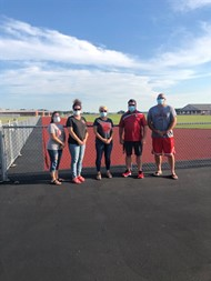 Pictured from left to right are current and former Van Wert High School Booster Club Officers: Breanne Sudduth, Treasurer; LeeAnn Pratt, Secretary; Michelle Gunter, President; Ben Laudick, Former President; and RJ Coleman, Vice President.