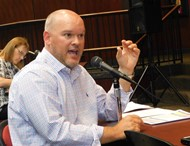 New Van Wert Superintendent Mark Bagley speaks on preparations for reopening in the fall during Wednesday's meeting of the Van Wert City Board of Education.