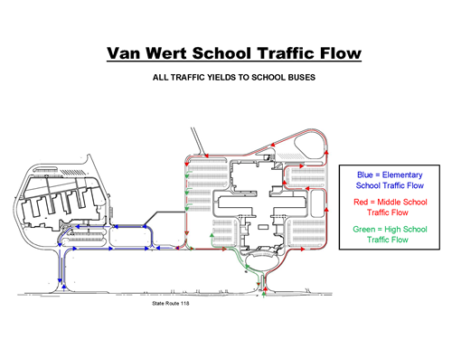 Traffic flow for Van Wert high school, middle school and elementary