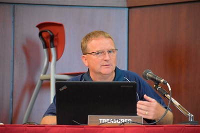 Van Wert City Schools Treasurer Mike Ruen gives his report during Wednesday's Board of Education meeting