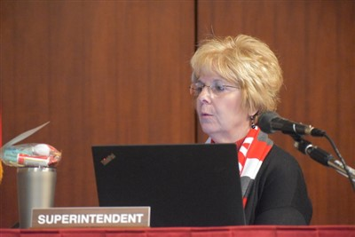 Superintendent Vicki Brunn gives her report during Wednesday's Van Wert Board of Education Meeting.