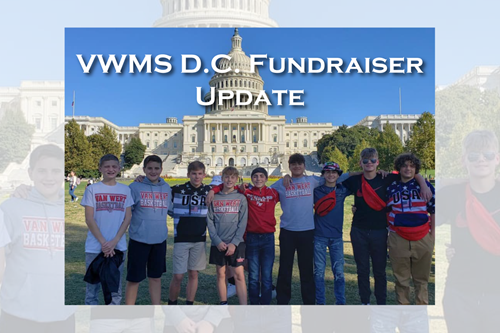 A group of VWMS boys pose in front of the Capitol Building in Washington D.C.