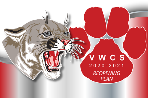 Cougar head and cougar paw with VWCS 2020-2021 Reopening Plan