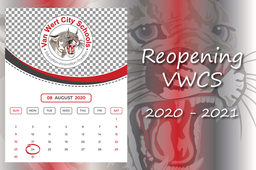 Reopening VWCS 2020-2021 with a calendar of August and graphic of the cougar head logo