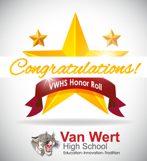 Congratulations VWHS Honor Roll with a graphic of a gold star