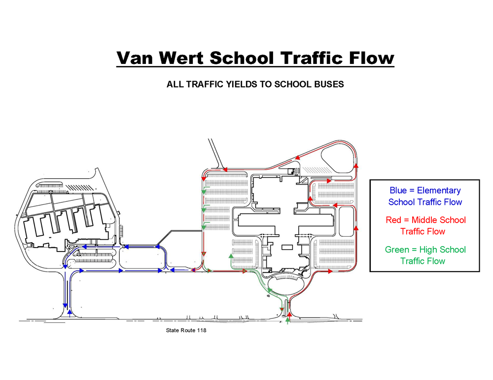 Traffic flow for Van Wert high school, middle school, and elementary