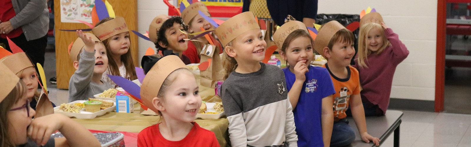 Kindergarten students at their Thanksgiving feast