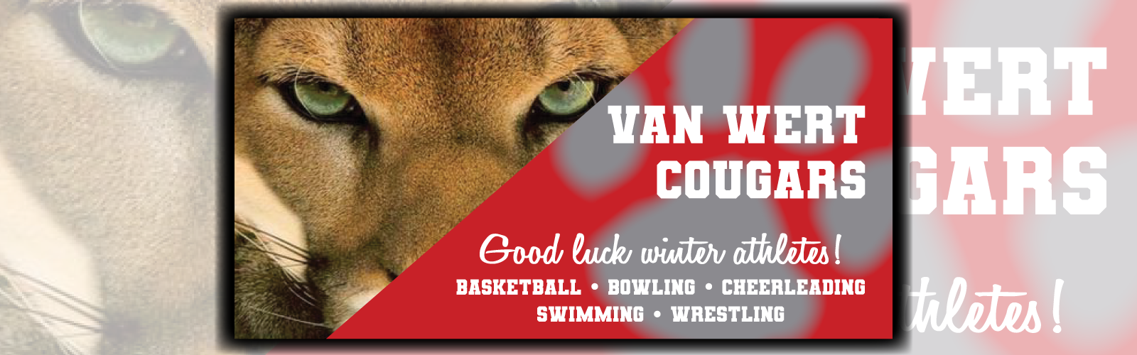 Good luck winter athletes banner
