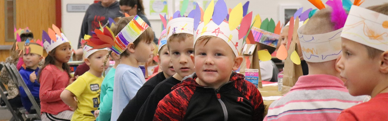 Students during their Thanksgiving feast