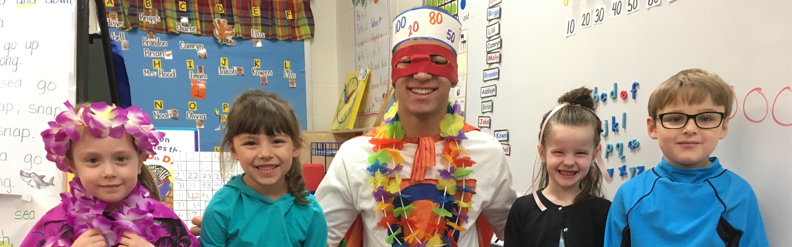 Zero the Hero visited with ECC students to celebrate the 100th day of school