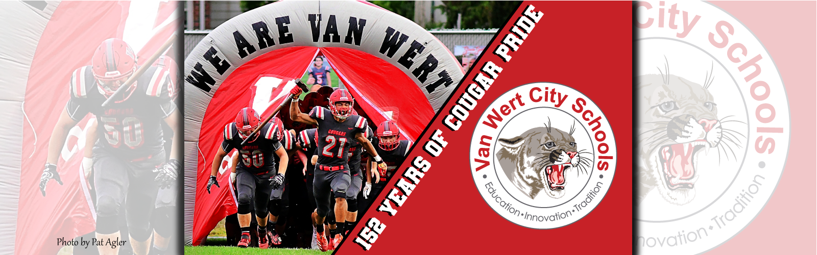 152 Years of Cougar Pride with VWCS circle logo and photo of the football team running out of tunnel before a game