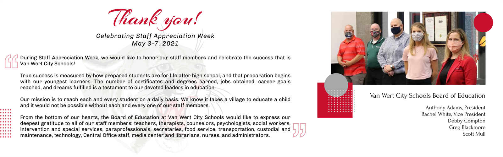 Staff appreciation week message from the Board of Education