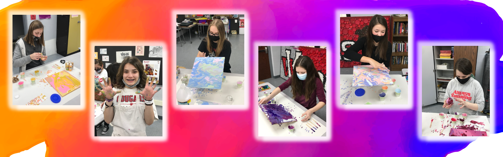 Middle school art students working with paint